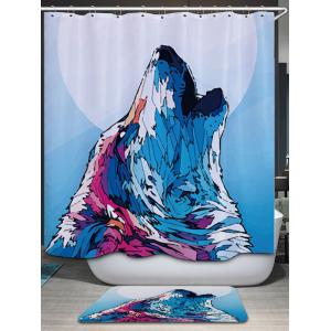 Wolf Howl Print Fabric Waterproof Bathroom Shower Curtain - COLORMIX W59 INCH * L71 INCH