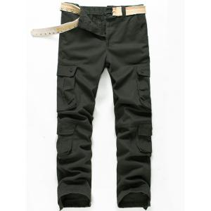 Button Pockets Zip Fly Straight Cargo Pants - Olive Green - 32