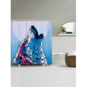 Wolf Howl Print Fabric Waterproof Bathroom Shower Curtain - COLORMIX W71 INCH * L71 INCH