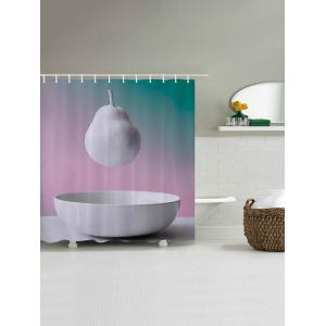 Hanging Pear Pattern Fabric Waterproof Bathroom Shower Curtain -