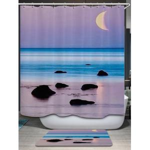 Beach Sea Sunset Print Fabric Waterproof Bathroom Shower Curtain - COLORMIX W59 INCH * L71 INCH