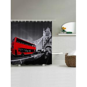 Vintage Bus Pattern Fabric Waterproof Bathroom Shower Curtain - COLORMIX W59 INCH * L71 INCH