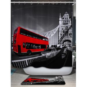 Vintage Bus Pattern Fabric Waterproof Bathroom Shower Curtain - COLORMIX W71 INCH * L71 INCH