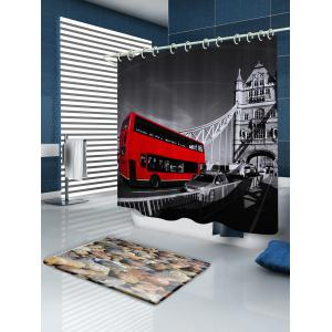 Vintage Bus Pattern Fabric Waterproof Bathroom Shower Curtain - COLORMIX W71 INCH * L79 INCH
