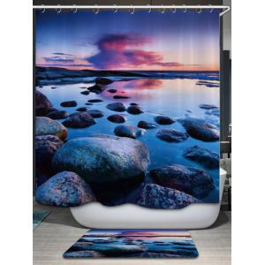 Sunset Stone Pattern Fabric Waterproof Bathroom Shower Curtain - COLORMIX W71 INCH * L71 INCH