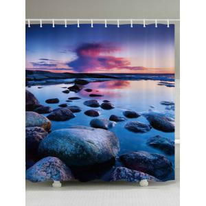 Sunset Stone Pattern Fabric Waterproof Bathroom Shower Curtain - Colormix - W71 Inch * L79 Inch