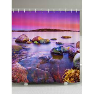 Sunset Scenery Pattern Fabric Waterproof Bathroom Shower Curtain - Colormix - W59 Inch * L71 Inch