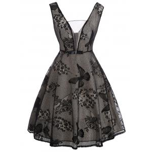 See Thru Floral Lace Vintage Overlay Dress