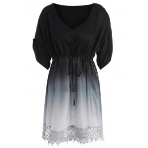 Plus Size V Neck Ombre Tunic Top