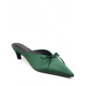 Bow Pointed Toe Satin Slippers