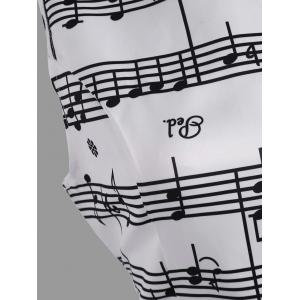 Music Note Print Party Swing Dress - WHITE 2XL