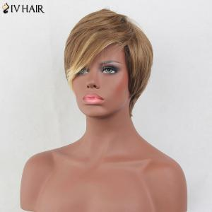 Siv Hair Short Layered Side Bang Straight Colormix Perruque de cheveux humains -