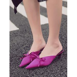 Bow Pointed Toe Satin Slippers - ROSE RED 37