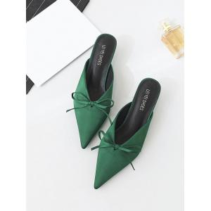 Bow Pointed Toe Satin Slippers - GREEN 38