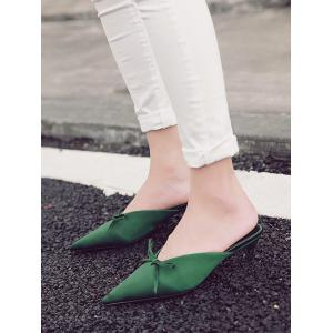 Bow Pointed Toe Satin Slippers - GREEN 37