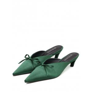 Bow Pointed Toe Satin Slippers - GREEN 39