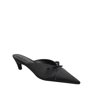 Bow Pointed Toe Satin Slippers - BLACK 38