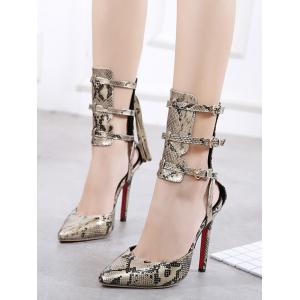 Snake Print Buckle Straps Pumps - GOLDEN 41