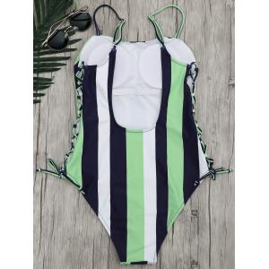 Stripe Lace-Up One Piece Swimsuit - Rayure M