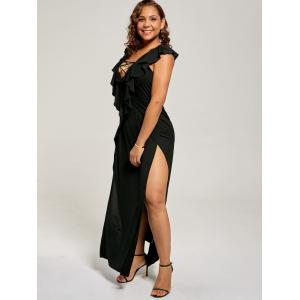 Plus Size Flounce Lace Up Maxi High Slit Dress -