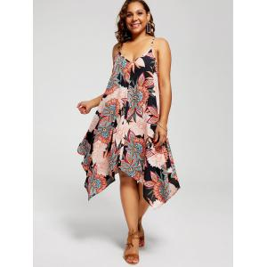 Plus Size Floral Chiffon Asymmetric Slip Dress - BLACK 5XL