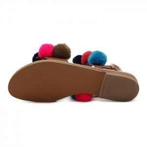 Bohemian Colorful Pom Pom Sandals - BROWN 37