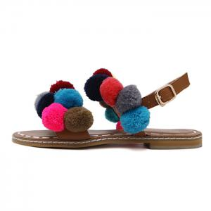 Bohemian Colorful Pom Pom Sandals -