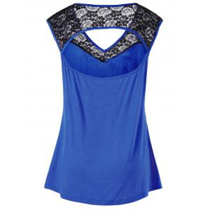 Plus Size Lace Insert Open Back Top -