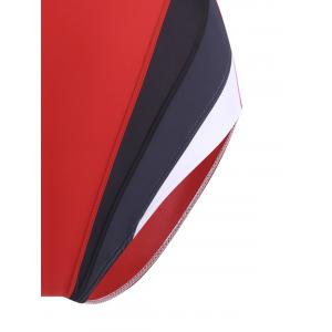 One Piece Color Block Backless Sports Swimsuit -