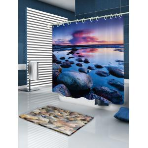 Sunset Stone Pattern Fabric Waterproof Bathroom Shower Curtain -