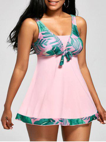 Palm Leaf Print Racerback Tankini Bathing Suit - Light Pink - L