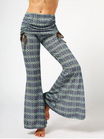 Chic High Waist Bowknot Lace Loose Flare Pants For Women - GRAY - S