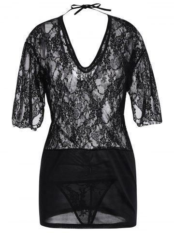 Trendy Lace Plunge Backless Babydoll Dress - ONE SIZE BLACK Mobile