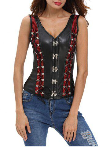 Lace Up Faux Leather Corset Vest - Black And Red - 2xl