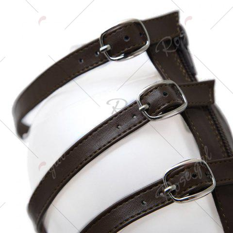 Outfit Buckle Straps Fringe Flat Sandals - 39 DEEP BROWN Mobile