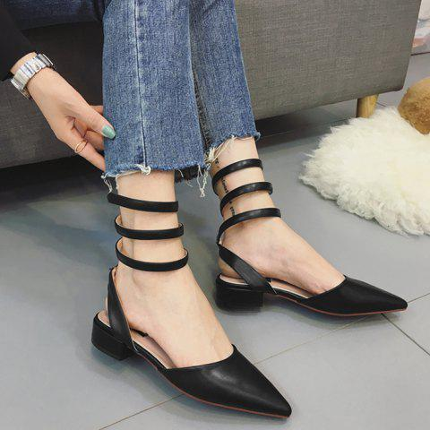 Triple Ankle Strap Point Toe Flats - Black - 39