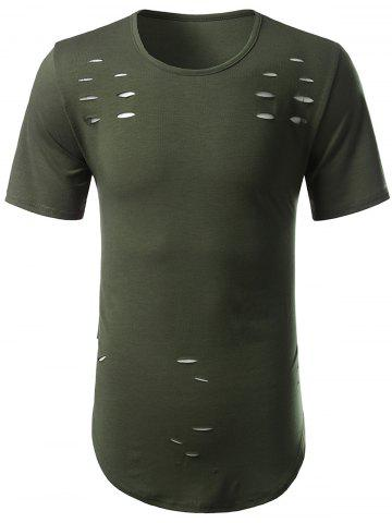 Online Short Sleeve Arc Hem Distressed Tee ARMY GREEN 3XL