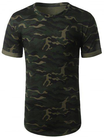 Cheap Arc Hem Crew Neck Camouflage Tee ARMY GREEN L