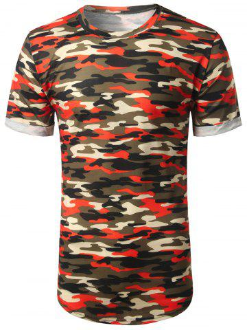 Cheap Arc Hem Crew Neck Camouflage Tee