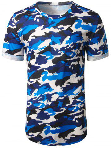 Buy Arc Hem Crew Neck Camouflage Tee BLUE 2XL