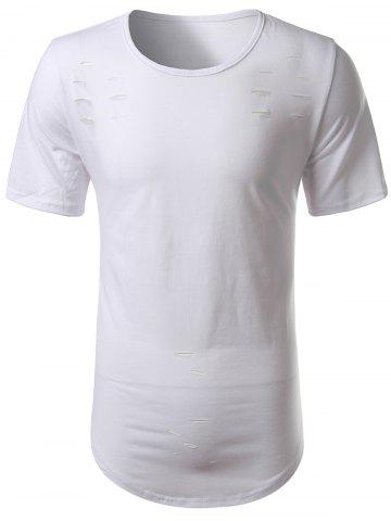 Discount Short Sleeve Arc Hem Distressed Tee WHITE 2XL
