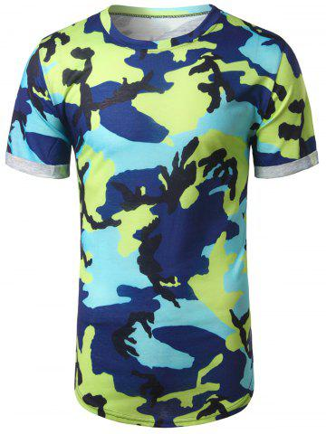 Outfits Arc Hem Crew Neck Camouflage Tee GREEN XL