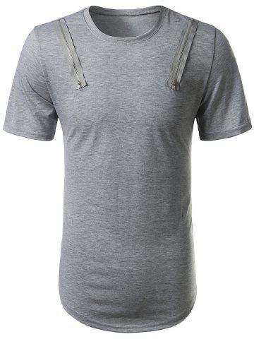 Trendy Arc Hem Zipper Embellished Tee GRAY L