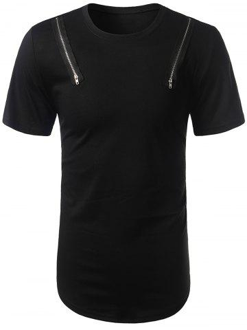 Buy Arc Hem Zipper Embellished Tee BLACK L