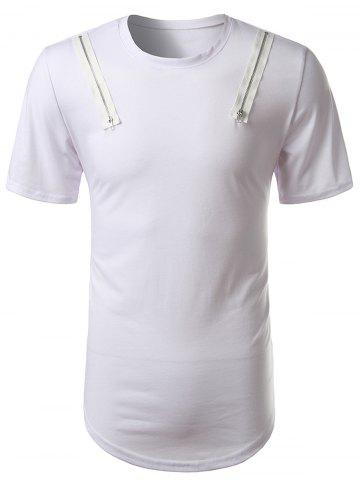 Arc Hem Zipper Embellished Tee Blanc 2XL