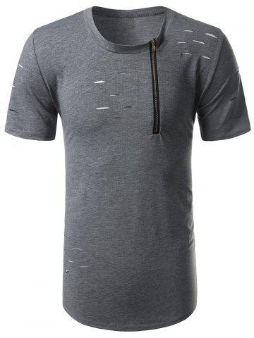 Shops Crew Neck Half Zip Distressed Tee GRAY L