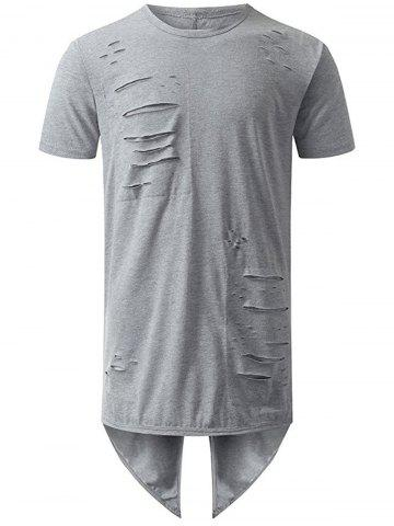 Fancy High Low Back Slit Distressed Tee GRAY XL