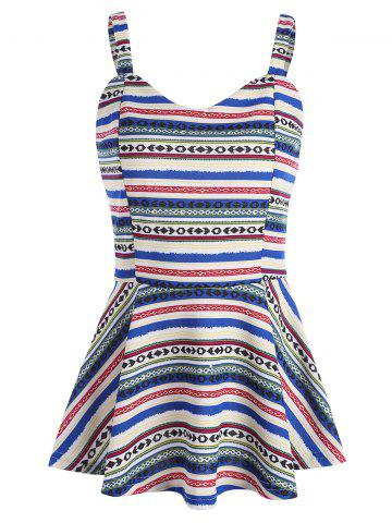 Online Tribal Geometric Print Peplum Tank Top COLORMIX L