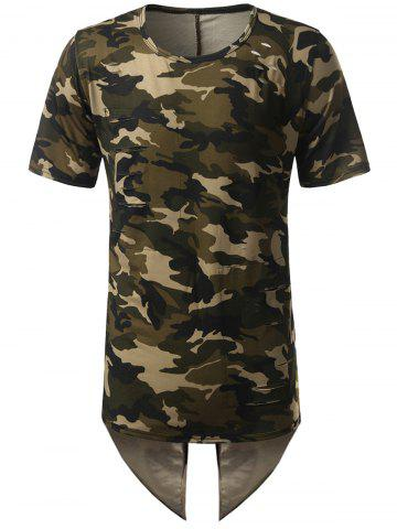 Hot High Low Back Slit Asymmetric Distressed Tee CAMOUFLAGE L