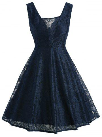 New Retro Lace Fit and Flare Cocktail Dress PURPLISH BLUE 2XL